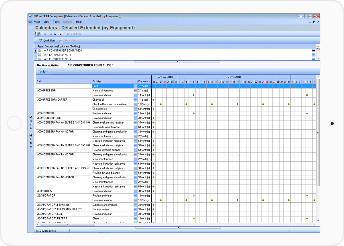 automatically create maintenance schedules with the MP.