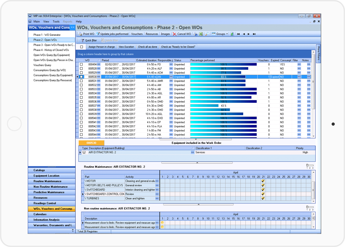 Automate and simplify the generation, control and follow-up of work orders with the MP.